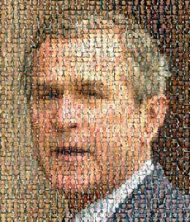 Rostro de Bush con las caras de Irak
