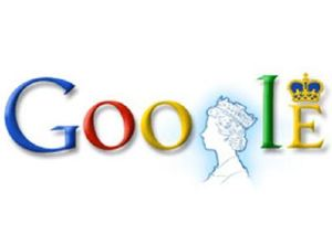 La reina Isabel de Inglaterra en el logo de Google