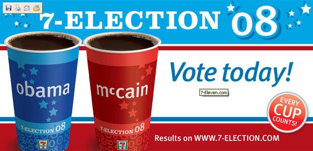 Obama o McCain? 7 Eleven hace un sondeo por medio del café