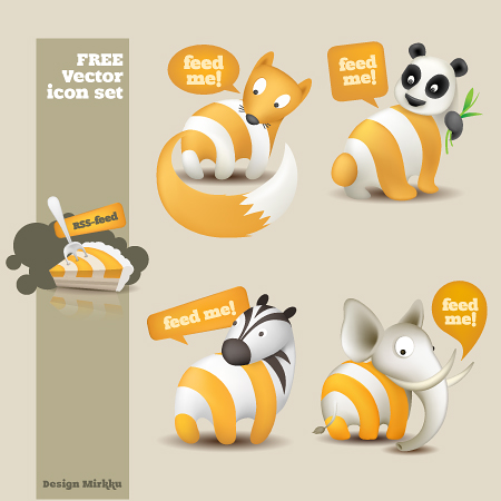 Set de iconos RSS de animales