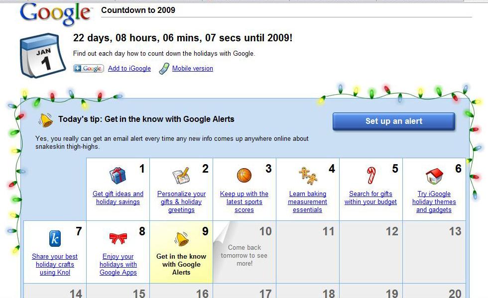 Google nos regala un Calendario de Adviento