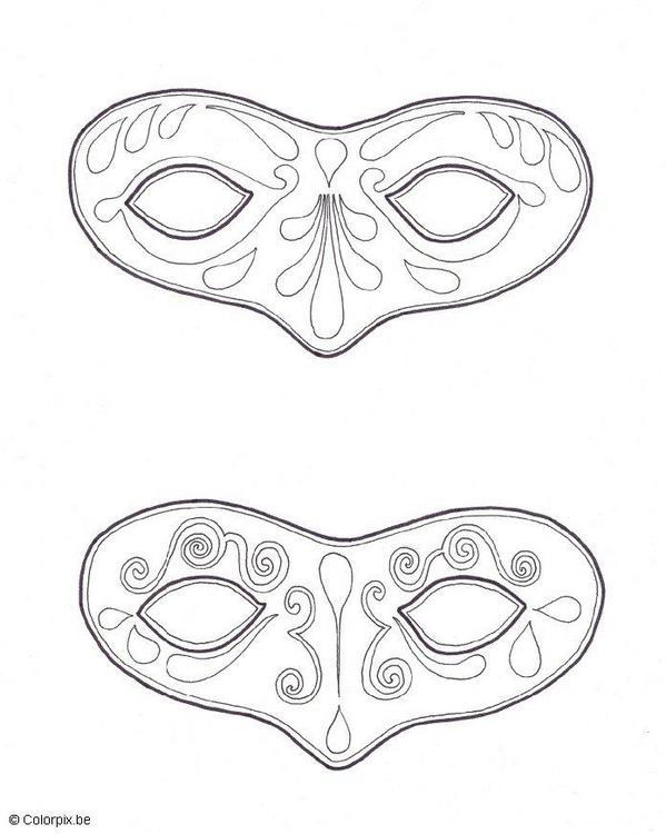 Dibujos para colorear de máscaras para Carnavales y Primavera