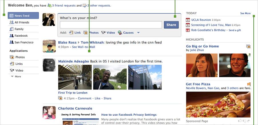 Cambios en la página de inicio de Facebook