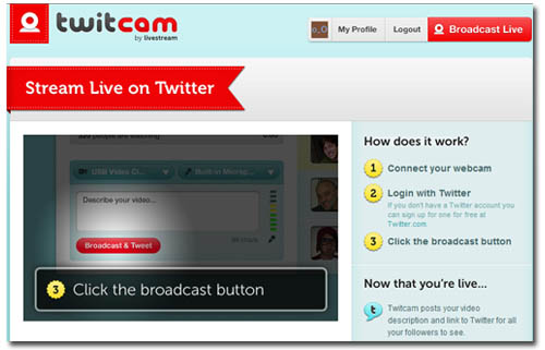 Twitcam para transmitir videos a Twitter