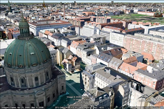 Copenhague y Marsella en Google Earth