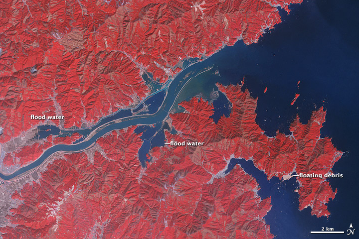 Japón zonas inundadas por aguas del río Kitakami