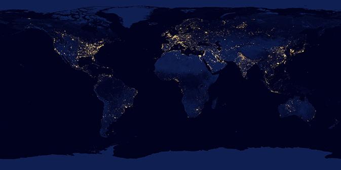 La NASA muestra una hermosa panorámica de la Tierra de noche