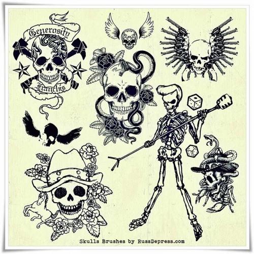 retro-skull-pack-qbrushes-calaveras-craneos-photoshop